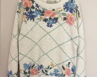Vintage L.L. Bean Floral Sweater