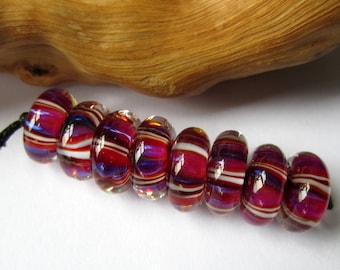 Be Mine Sweethearts - Set of eight lampwork donut beads