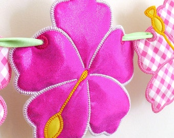 """Hibiscus Flower Bunting In The Hoop Project Machine Embroidery Design Applique Banner Pattern 2 variations in 3 sizes 4"""", 5"""", 6"""" Hawaiian"""