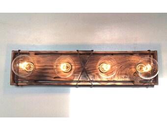 Bathroom Light Fixture Bathroom Vanity - Flush Wall Mount, Mirror Custom (4) or (5) Bulb Vanity Fixture Handmade, Torched