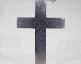 Antique Victorian Large Plain Silver Cross