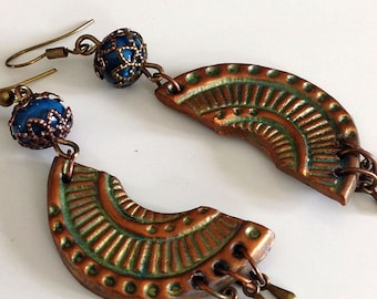 Earrings, turquoise, copper, patinated, ethnic, half moon.