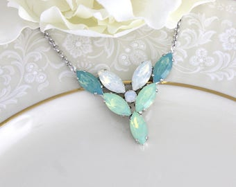 Mint Green necklace, Bridal necklace, Opal necklace, Wedding jewelry, White opal necklace, Swarovski necklace, Bridal jewelry, Marquise
