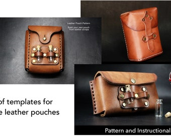 Leather Pouch Pattern Set - 3 Patterns included - Pdf Download - Leather Pattern - Utility Pouch Pattern - Pouch Pattern