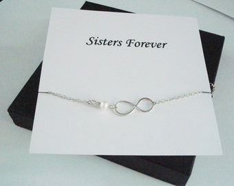 Infinity Charm with White Pearl Silver Bracelet ~~Personalized Jewelry Gift Card for Sister, Friend, Best Friend, Sister in Law