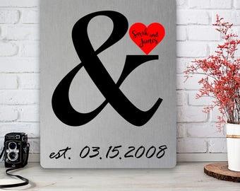 Ampersand Wedding Print, Anniversary Tin Print, Aluminum Art Plaque, Ten Year Gift, Tin Metal Print, & Symbol, Red Heart, Custom Names Dates