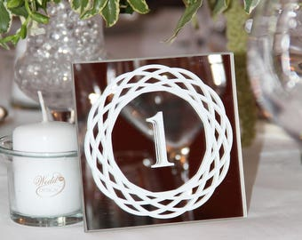 Square mirror table 1-5 wedding table numbers