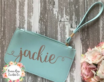 Personalized Name Clutch Wristlet - Bridal Party Gifts