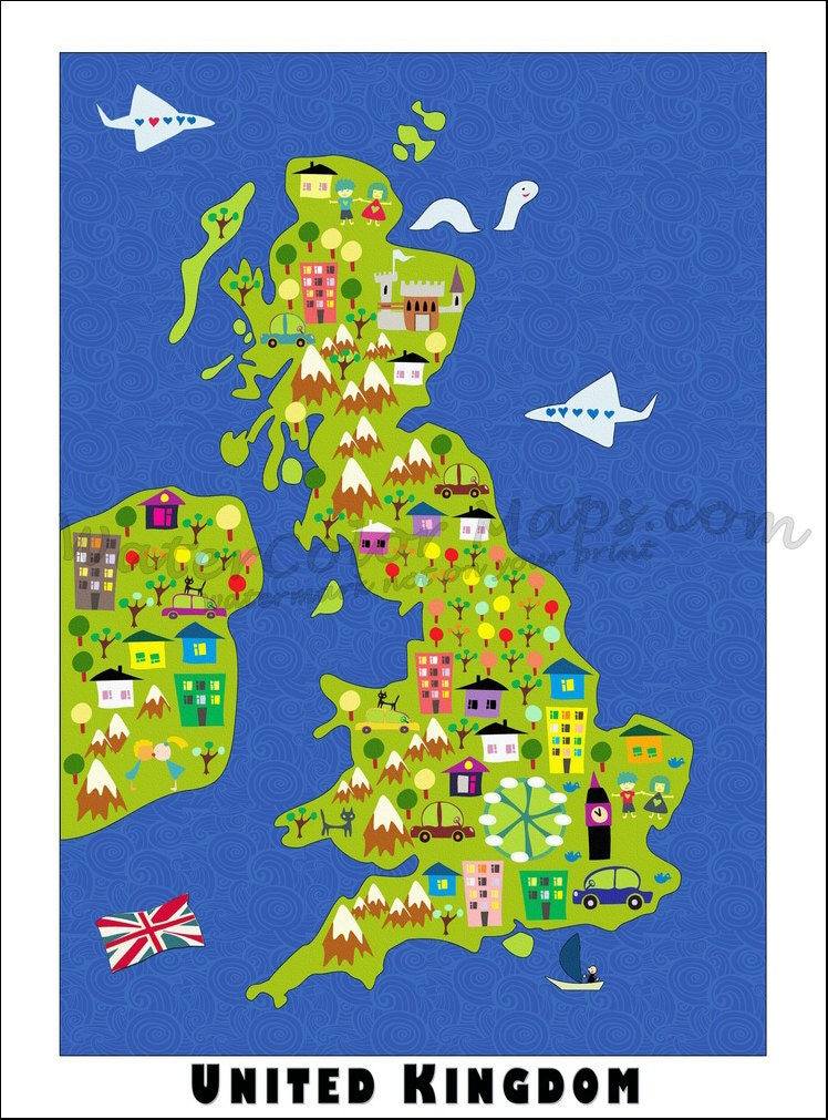 KIDS Maps UNITED KINGDOM Map Childrens Maps Map Of United - United kingdom map