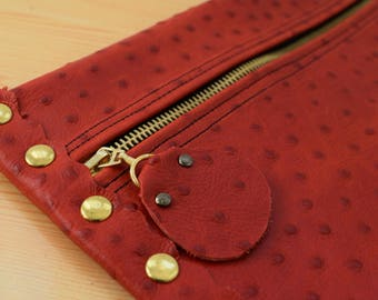 Leather clutch,red leather purse,leather purse bag,ostrich leather clutch,red handbag,leather clutches,red leather bag,leather clutch red
