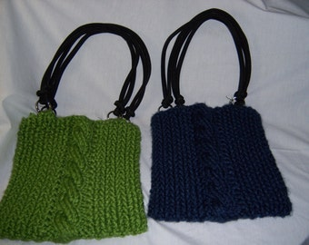 hand knitted bag-purse-green&blue-lined with cotton fabic