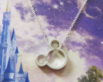Mickey Mouse Inspired Silver Disney Necklace Gift/Wedding/Birthday
