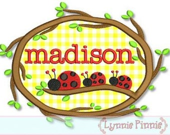 Instant Download LADYBUGS on a BRANCH Applique monogram name FRAME 4x4 5x7 6x10 7x11 Machine Embroidery Design
