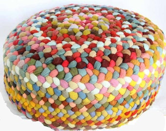 Hand Braided Multicolored Floor Cushion or Footstool