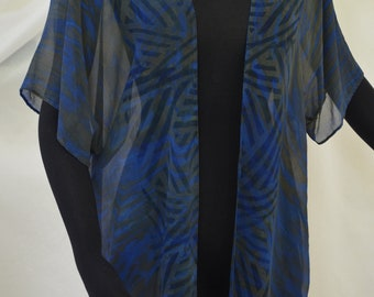 Silk Jacket, Crepe de chine silk, Kimono Jacket, Steel Blue and Black