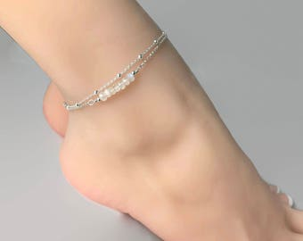 Rainbow Moonstone Anklet, Double Chain Sterling Silver Anklet, Rainbow Moonstone, Satellite chain anklet