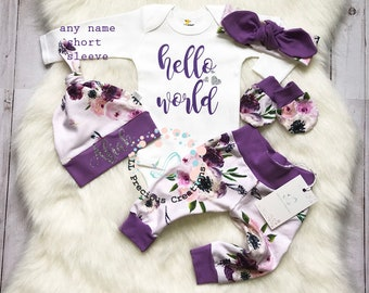 Baby Girl Coming Home Outfit  Newborn Girl Outfit Hello World  Baby Girl Outfit Photo Prop Purple Floral Outfit  Baby Shower Gift Baby Gift