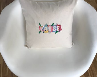 Pause embroidery cushion cover