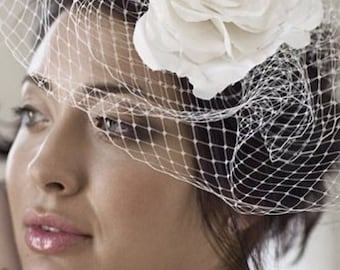 White birdcage, corsage on a clip, bridal accessory, fascinator for a traditional retro look
