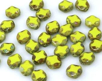 8x9mm Diamond Window Beads Opaque Chartreuse Green Picasso Czech Glass - 15