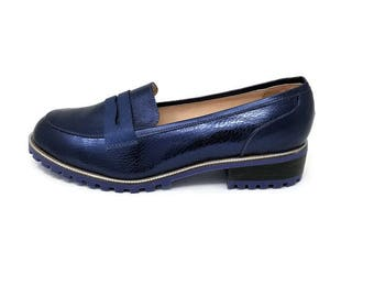 NEW Sky  Leather Loafers- Women Handmade Loafers - Women Shoes -Flat Shoes -Women Blue loafers Shoes -Slip on Shoes- Textured Leather