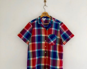 Vintage 80's Plaid Camp Shirt / Rolled Sleeves Top M L