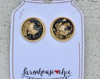 Black Gold Leaf Earrings