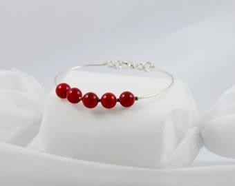 Red Jade bead Bangle