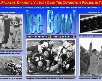 """The """"Ice Bowl"""" Packers v. Cowboys 1967 NFL Championship Game Poster"""
