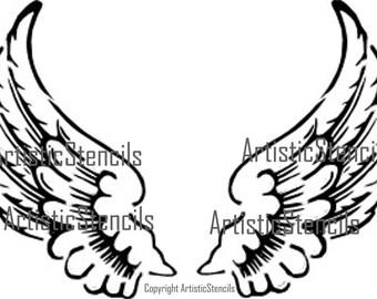 Angel Wings Stencil 10x7
