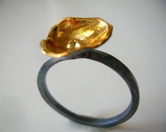 golden poppy oxidized and gold plated sterling silver ring.