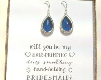Navy Blue Silver Earrings, Bridesmaid Teardrop Earrings, Navy Blue Bridal Earrings, Bridesmaid Jewelry Gift - Bridal Party Gifts, ES1