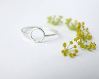 Tiny circle ring - Forever ring, Scandinavian modern, Thin silver ring, Delicate ring, Friendship ring, Birthday gift for her, Dainty ring