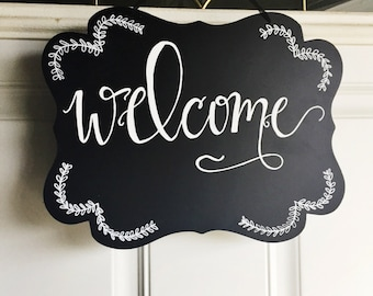 Welcome Chalkboard Sign / Welcome Sign / Door Hanging / Hand Lettered Chalkboard / Calligraphy Chalkboard Sign / Wedding Sign