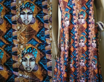 "Yaa Asantewa African print Stretch Jersey fabric, Art on cloth, 18""x 60 "" width, High Performance fabric for Swimwear, leggings, Dresses"