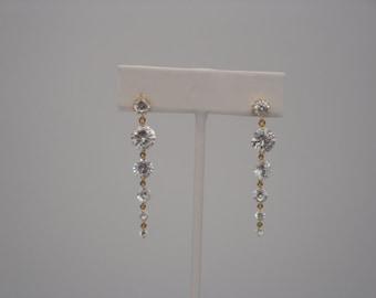 Gold Cubic Zirconia Cascading Earrings