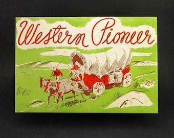 Vintage 1950s WESTERN PIONEER Toy Holster w/ Red Wooden Bullets in Box, Unbranded, Covered Wagon CowboyMotif