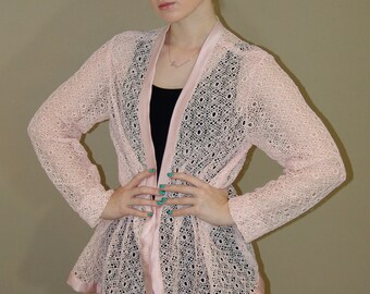 Vintage handmade pink lace jacket
