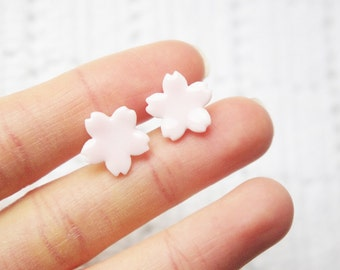 Pastel pink porcelain sakura cherry blossom flower stud earrings,ceramic porcelain jewellery,for flower lovers,cute birthday Christmas gift