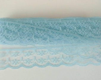 Blue Flat Scalloped Lace Sewing Trim 5 Yards by 7/8 Inches Wide L0729
