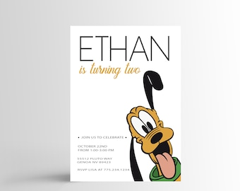Pluto Birthday Invitation , Simple Pluto Invitation, Simple Disney Invitation, Custom DIY Printable