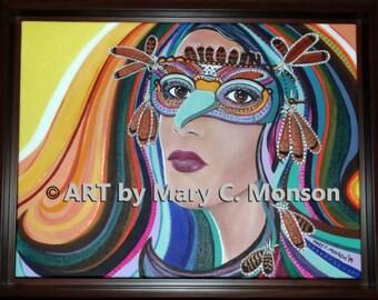 HAWK Eyez - portrait 12x16 framed - signed - original art - FREE Shipping!
