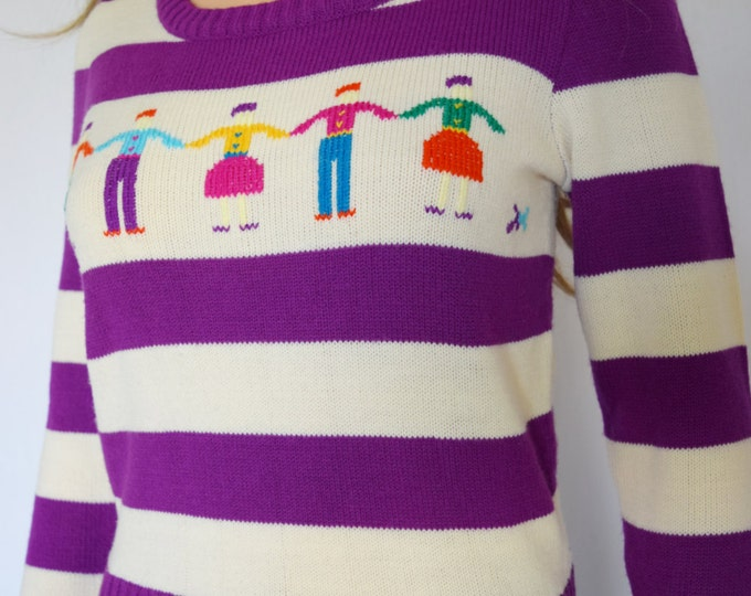 Vintage 1970's Charlie's GIRLS ReTrO StRipEd NOVeLTY HiPPiE HiPsTeR Knit Womens Sweater S M