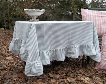 Custom TIcking Tablecloth Striped Tablecloth Ruffled Tablecloth French Cooutry Handmade Wedding Decorations Table Decor Nautical Tablecloth