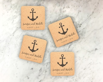 25 Cork Coaster Set, Engraved Coaster, Wedding Favors, Personalized Coasters, Custom Engraved Wedding Coasters, Party decor --22105-CST2-029