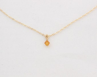 Dainty Birthstone Necklace in Sterling Silver or 14k Gold Filled