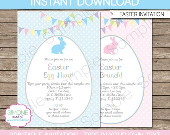 Easter Invitation Template - Easter Egg Hunt - Easter Brunch - Easter Party - INSTANT DOWNLOAD with EDITABLE text - you personalize at home