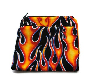 Reusable Snack Bags set of 2 Zipper Flames Black Red Yellow