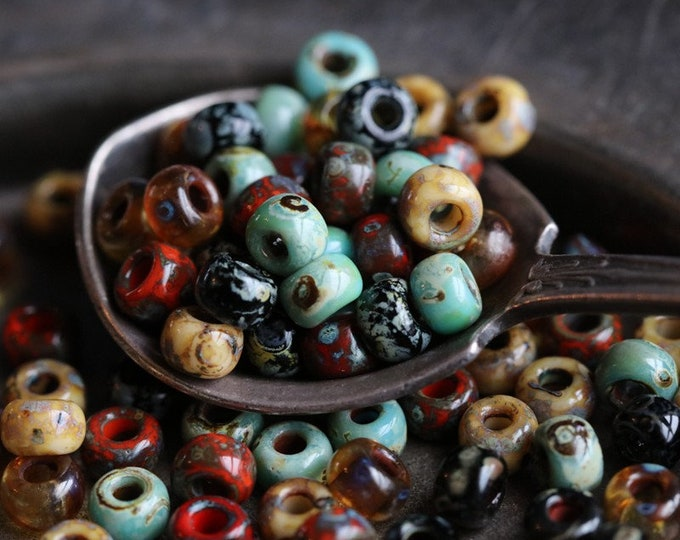 SEASIDE SEEDS No. 2 .. NEW 50 Picasso Glass Seed Bead Mix Size 6/0 (6236-50)
