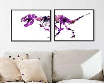 Purple Dinosaur Art Print Trex Watercolor Dinosaurs Bones Watercolor Trex Painting Print - Set of 2 - 427